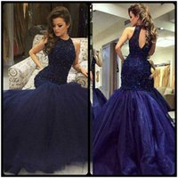 Wholesale hollow plus size special occasion dresses online - Luxury Hollow Navy Blue Mermaid Evening Dresses Beads Crystal Prom Dress Long Formal Party Dress Pageant Gowns Celebrity Special Occasion