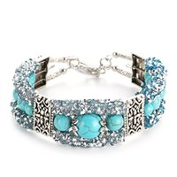 Wholesale beaded diamond bracelets - Turquoise Beaded Bracelet Wire Circle Bright Diamond Bracelet Fashion Women Jewelry Valentine's Day Gifts Support FBA Drop Shipping H276F