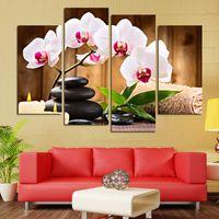 marcos digitales rosa al por mayor-Cuadros modulares para la sala de estar 4 piezas de flores rosadas Foto abstracta de la pared decorativa marco HD cartel de la lona de impresión de pintura