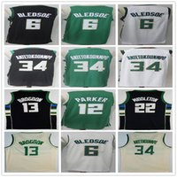 Wholesale New Middleton - 2018 New Mens #34 Giannis Antetokounmpo Jerseys White Green Black 22 Middleton 6 Eric Bledsoe 13 Malcolm Brogdon 12 Jabari Parker Jersey