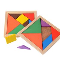 Wholesale tangram puzzles for kids resale online - 100pcs Wooden Tangram Piece Jigsaw Puzzle Colorful Square IQ Game Brain Teaser Intelligent Educational Toys for Kids