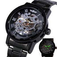 relógios de esqueleto de aço inoxidável vencedor venda por atacado-2018 VENCEDOR Mens Relógios Mecânicos Mão-vento Relógios Cinta De Aço Inoxidável Número Romano Esqueleto Relógios De Pulso Mãos Luminosas