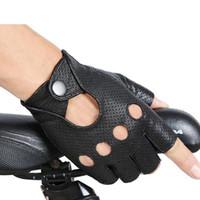 erkekler parmaksız sürme eldivenleri toptan satış-Moda Yeni Siyah PU Yarım Parmak Sürüş Gösterisi Erkekler Eldiven Serseri Caz Parmaksız Eldiven Erkekler Için