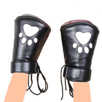 Wholesale leather restraint gloves resale online - PU Leather Padded Fist Mitts Fingerless Gloves Fetish Bondage Restraint Pair Crawl Paws Adult Erotic Toys Sex Toys For Couples