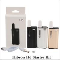 ingrosso scatola mod boccaglio-100% autentico Hibron H6 Kit 350mAh Preriscaldamento VV Battery Box Mod 0.5ml Serbatoio ceramico Serbatoio olio spesso Boccaglio in ceramica Cartucce vaporizzatore
