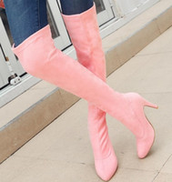botas altas de tacón alto al por mayor-Botas de mujer sobre los zapatos de rodilla Mujer Tacones altos delgados Gladiador Botines calientes Hip-hop Sapato Feminino Zapatos De Mujer WS181118