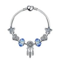 colgante estrella 925 al por mayor-18 + 3 CM Charm Beads Pulseras Pulsera de moda Dream Catcher Colgante 925 Brazalete de plata estrella azul DIY Accesorios de joyería Regalo de boda