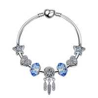 sonhos encantos encantos venda por atacado-18 + 3 CM Charme Beads Pulseiras Moda Pulseira Dream Catcher Pingente de Prata 925 Bangle estrela azul DIY Acessórios de Jóias presente de Casamento