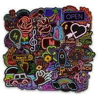 Wholesale laptop room for sale - Classical Neon Sign Graffiti Stickers Designer Laptop Luggage Cartoon Sticker High Quality Color Paster Waterproof nt Ww