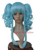 Wholesale heat resistant curly ponytail for sale - Heat resistant CURLY SKY BLUE PONYTAILS SHORT COSPLAY WIG VOCALOID CODA ANYA