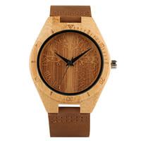 handgemachte hölzerne geschenke für männer großhandel-Mode Carving Life Tree Quarz Holz Uhr für Männer Frauen Handmade Natur Bambus Roman Unisex Uhr für Liebhaber Geschenk