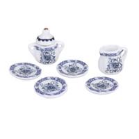 conjuntos de plato azul al por mayor-MACH Dcolor Juego de 15 piezas 1/12 Casa de muñecas Comedor en miniatura Juego de porcelana Olla + Plato + Taza + Plato --- Azul