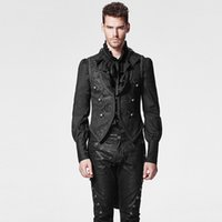 Wholesale Long Hooded Down Vests - Black Gothic Swallow Tail Man Vest with Pressed Flower Steampunk Sleeveless Detachable Jacket Waistcoats