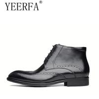 botas indias al por mayor-zapatos brogue de punta de ala para hombre botas clásicas indias botas americanas de tobillo de trabajo botas de cuero color burdeos con suela de goma