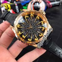 mesa redonda negra al por mayor-Nuevo Excalibur 45 RDDBEX0511 Oro rosa 18 quilates de oro amarillo Caballeros de la mesa redonda Esmalte negro Reloj automático para hombre Negro cuero B42g7