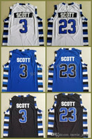uv-filme groihandel-Männer S-2XL Nummer 3 Die Filmversion von One Tree Hill Lucas Scott 23 Nathan Scott Trikot Double Stitched Jerseys Schwarz Weiß Blau