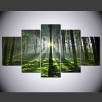 pintura al óleo árboles forestales al por mayor-Sin marco 5 Piezas Pintura de la Lona Moderno Sunrise Forest Tree Pintura Al Óleo HD Habitación de Impresión Imagen del Cartel Decoración Del Hogar