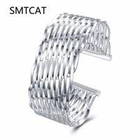 ingrosso grandi donne in argento bracciali-SMTCAT intrecciato bracciali argento per le donne uomo maglia larga braccialetto braccialetto catena a maglia wristband gioielli di marca bijoux gioielli punk