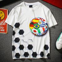 mundo de los fanáticos del fútbol al por mayor-Camisetas de fútbol Camiseta blanca casual Copa del mundo Fans de fútbol Camiseta con cuello redondo Blusas con cuello redondo