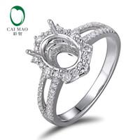 ingrosso impostazione ovale semi-montata-Caimao 6x8mm Oval Cut Semi Mount Impostazione Anello 18K oro bianco naturale 0.48ct Diamond Engagement Jewelry