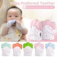 Wholesale newborn baby color - 5 Color Silicone Teether Baby Pacifier Glove Baby Teething Glove Newborn Nursing Mittens Kids Teether Chewable Nursing Beads CCA9976 30pcs