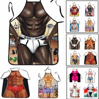 Wholesale sexy kitchen - 12 Designs Creative Aprons Novelty Funny Sexy Men Women 3D Printed Joke Aprons Muscle Christmas BBQ Outdoor Kitchen Tool AAA670