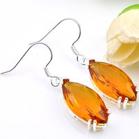 Wholesale fire citrine - 6 Pairs Luckyshine Superb Fire Brazil Citrine Gems 925 Sterling Silver Plated Drop Earrings Russia Canada Dangle Earrings Jewelry