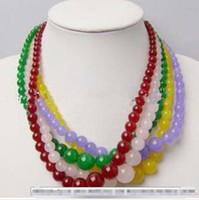"Wholesale 14mm acrylic plastic beads - Details about Wholesale 5pcs 6-14mm Multicolour Jade Round Beads Necklaces 18"""