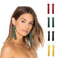 Wholesale trendy handmade - Handmade Tassel Earrings 5 colors Trendy Black Red Yellow Green white Long Dangles Ear Broncos Silk Fringed Jewellery For Women