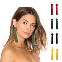 borlas rojas al por mayor-Pendientes borla hechos a mano 5 colores Trendy Black Red Yellow Green white Long Dangles Ear Broncos Silk flecos joyería para mujeres