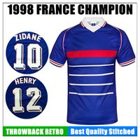Wholesale france soccer jerseys - HOT 1998 FRANCE retro soccer jerseys home world customzied Zidane Henry uniforms football shirts Djorkaeff BENZEMA MBAPPE MAILLOT