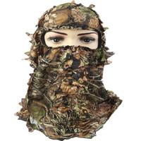 ingrosso cicli di peso leggero-Cappuccio da caccia mimetico, taglia unica leggera mimetica mimetica antivento copertura completa 3D maschera per il ciclismo