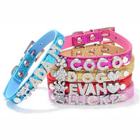 Wholesale dog collars slides for sale - 10pcs PU Leather Pet Collar with Bling Surface for Dogs and Cats with Slide Bar