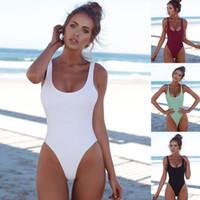Wholesale thongs women new hot - 2018 New Women One Piece Swimsuit Sexy Bandage Padded Bathing Suit Push Up Solid High Cut Hot Thong Swimwear Monokini BKLG07