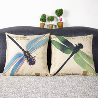 Wholesale vintage flax - American country color dragonfly oil painting illustrations pillow case Doing old vintage pillowcase Flax fiber blend sofa cushion cover