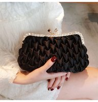 синяя свадебная сумка оптовых- new fashion satin clutches bag women YH009 black navy blue dinner party bridal wedding diamonds clutches female