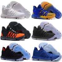 zapatos de escuela primaria al por mayor-2018 Nuevo Zoom KD 10 Aniversario PE Oreo Rojo Hombres Zapatillas de baloncesto KD 10 X Elite Low Kevin Durant Zapatillas deportivas de grado escolar