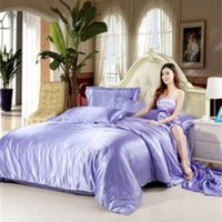 Wholesale european beds for sale - European Style Suit Bedding Sets Pure Color Queen Size Luxury Duvet Cover Mulberry Silk Quilt Covers Multi Styles dn Ww