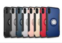 magnetgehäusehalter großhandel-Auto-Magnet-Finger-Ring-Fall-harte PC-Rücken-Halter-Ständer-Abdeckung Schutzhülle-Tasche Stealth volle Stents für Apple iPhone Xs Max Xr Xs