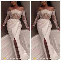 Wholesale Lace Maternity Tops - Lace Top 2018 Formal Sheath Prom Dresses Sheer Split Custom Middle East 2018 Formal Special Occasion Party Gowns Floor Length