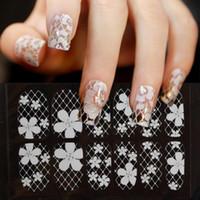 Wholesale diamond tips nails - Lace Diamond Flower Stickers Nail Art Tips manicure Lace nailFlower White 3d Lace Nail Art Stickers Decoration Full Cover Nail Foils Wraps