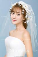 velo de crepe al por mayor-Nuevo encaje de las mujeres guirnalda del velo accesorios de flores Mori mujer nupcial tocado de boda joyería de crepé