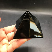 Wholesale antique japanese box - 1PC free shipping! wholesale 55-65mm Natural Rock Black Obsidian Quartz Crystal Pyramid Reiki Healing Home Decoration Fengshui