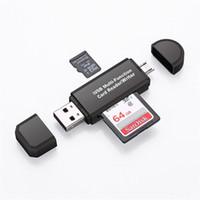 velocidad de las unidades flash al por mayor-3 en 1 USB OTG Lector de tarjetas Unidad flash USB2.0 de alta velocidad Universal OTG TF / Tarjeta SD para teléfono Android Cabezales de extensión de computadora