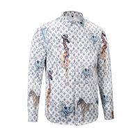 Wholesale giraffe sleeve - 2018 Italy ashion design luxury brand men's Casual long sleeve shirt fashion designer Mixed color Giraffe embroidery shirt medusa shirts