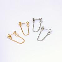 Wholesale cuff chain earrings gold for sale - Group buy Lwong mm Gold Color Ball Chain Ear Jacket Earrings For Women Minimalist Ear Cuff Earrings Simple Thin Chain Wrap Earrings Gifts Pairs