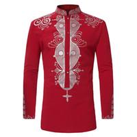 etnik giyim erkek toptan satış-Laamei Mens Hipster Afrika Baskı Dashiki Elbise Gömlek 2018 Yepyeni Etnik Gömlek Erkekler Uzun Kollu Gömlek Afrika Giyim Camisa