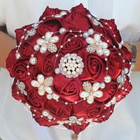 soie rouge foncé achat en gros de-18CM Rose Rouge Soie Rose Bouquet De Mariage Strass Perle Bouquet De Mariée Ruban Blanc Mariage Bouquet De Demoiselle D'honneur