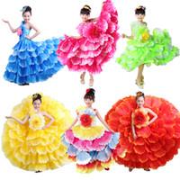 ingrosso abiti da sposa zebra-6colors Gypsy ebrei bambini di stile delle ragazze spagnolo Flamenco Dress Ruffle Floral Vintage Elegent Wedding Party Wear Dance Dress