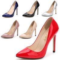 tacón alto de plata al por mayor-bombas de la manera mujeres del estilete del tacón alto de charol resbalón en los zapatos de la señora vestido de la boda del partido plata rojo más el tamaño